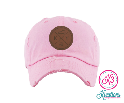 KY Round Leather Patch Distressed Cap