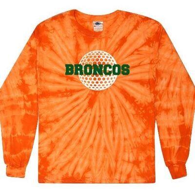 Broncos Golf Orange Tie-Dye Long Sleeve Tee (FDG)