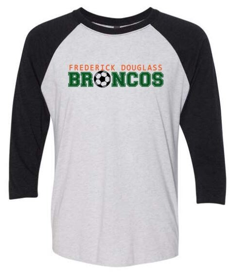 Frederick Douglass Broncos Soccer Triblend Three-Quarter Sleeve Raglan Tee (FDGS)
