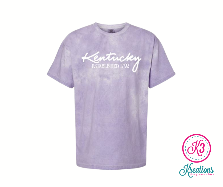 Comfort Colors Colorblast Kentucky Established 1792 Short Sleeve Tee