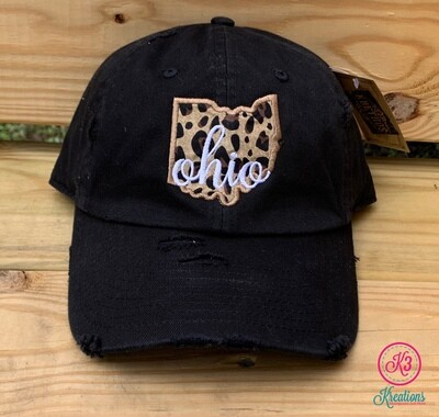 State Leopard Embroidered Distressed Cap