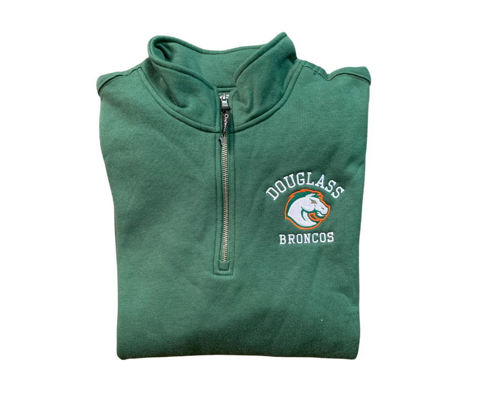Unisex Charles River 1/4 Zip Fleece Pullover with Embroidered Left Chest Douglass Broncos (FDF)