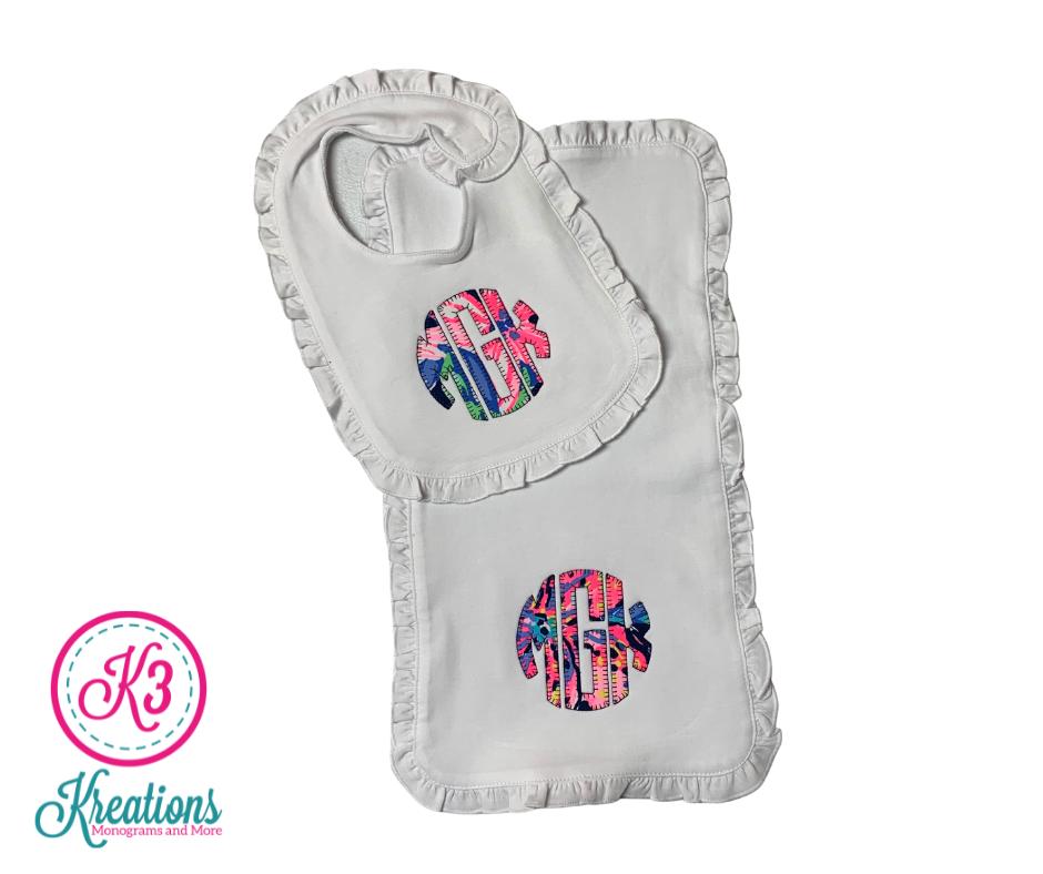 Lilly Ruffle Bib & Burp Cloth with Natural Circle Monogram - choice of Lilly fabric