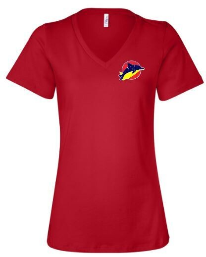 Ladies Bella + Canvas V-Neck Short Sleeve Tee with Embroidered Dolphins Logo (LEXD)
