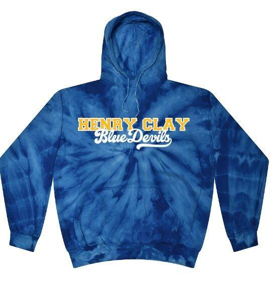 Unisex Adult Henry Clay Blue Devils Tie Dye Hooded Sweatshirt (HCDT)