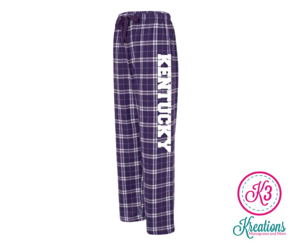 Adult Kentucky Purple/White Plaid Flannel Pants