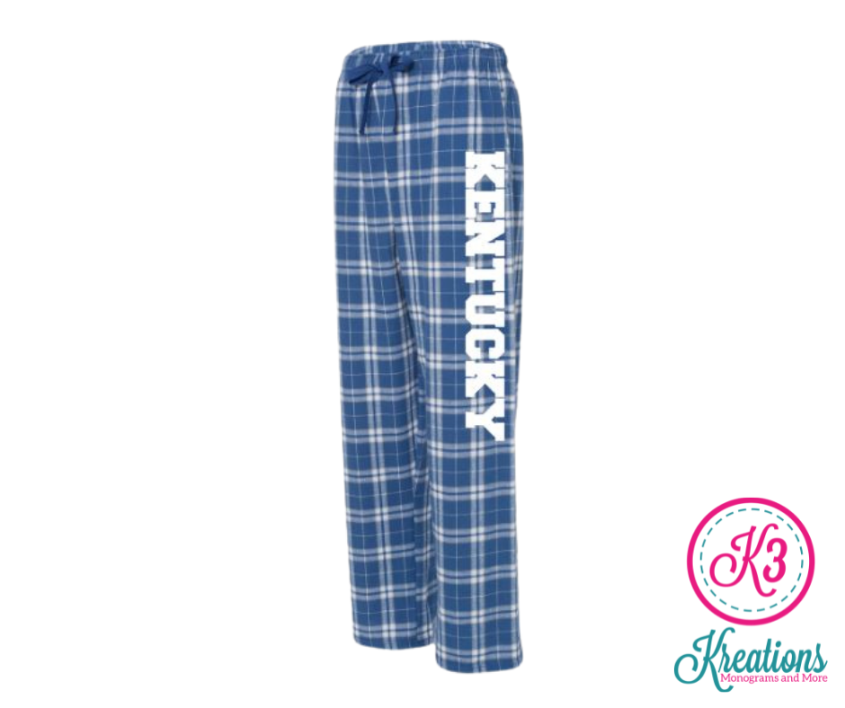 Youth Kentucky Royal/Silver Plaid Flannel Pants