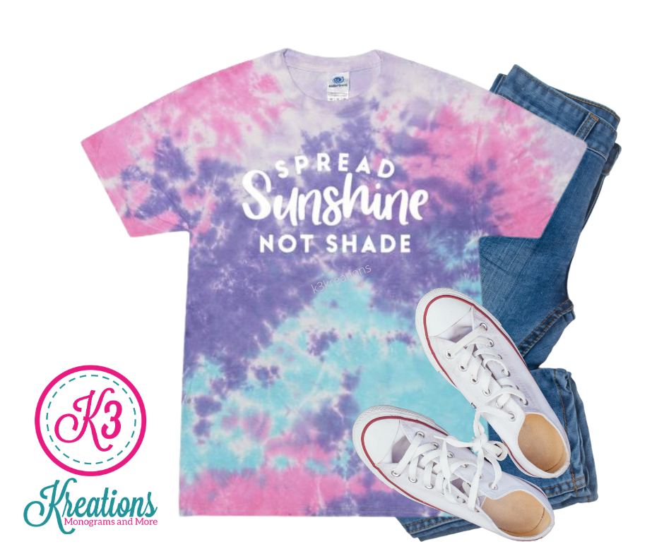 Adult Cotton Candy Tie-Dye Spread Sunshine Not Shade Short Sleeve Tee