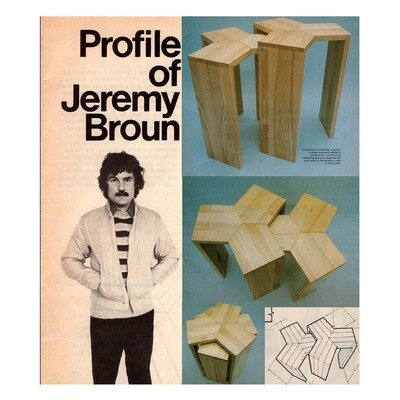 PROFILE OF JEREMY BROUN - with plans for his nest of tables in solid ash. (Practical Woodworking magazine 1984).