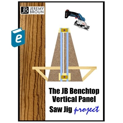The amazing JB BENCHTOP VERTICAL PANEL SAW JIG online ebook with step-by-step build inctructions, build options and printout plans. All for less than the cost of a sheet of plywood.