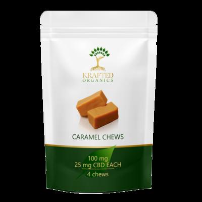 CBD Caramel Chews 100 mg (4) per package 25mg each