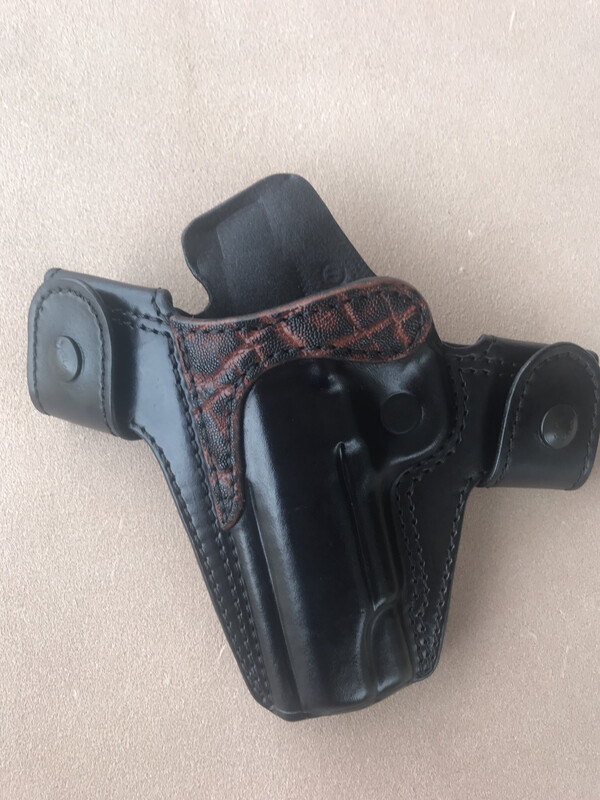 """Left Hand 1911 4.25"""" black with Chestnut Elephant trim and 20 degree cant"""