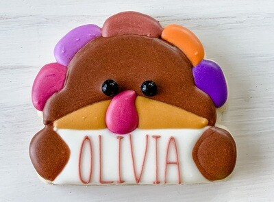 Turkey Personalized Place Card Cookie