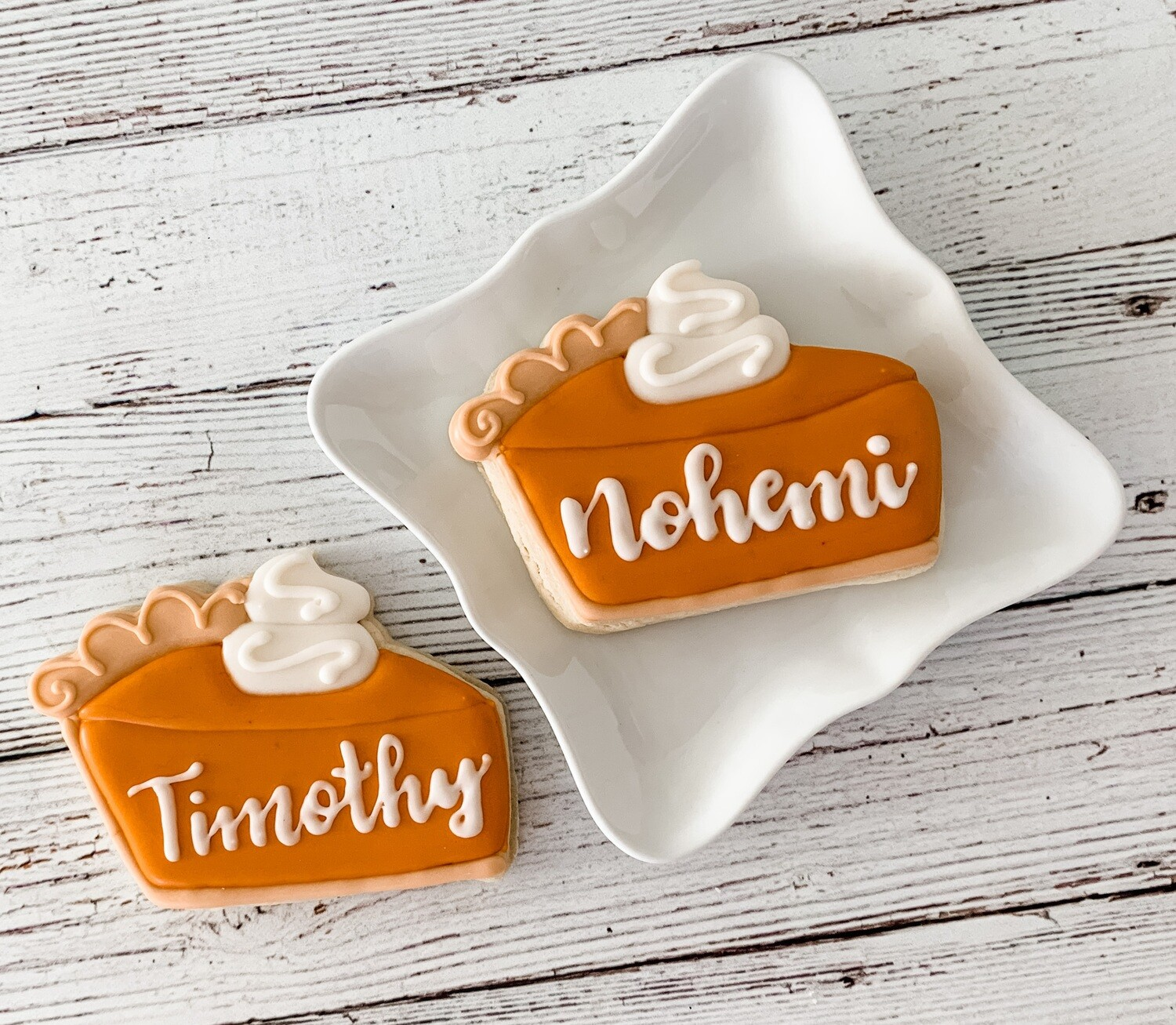 Pumpkin Pie Personalized Place Card Cookie