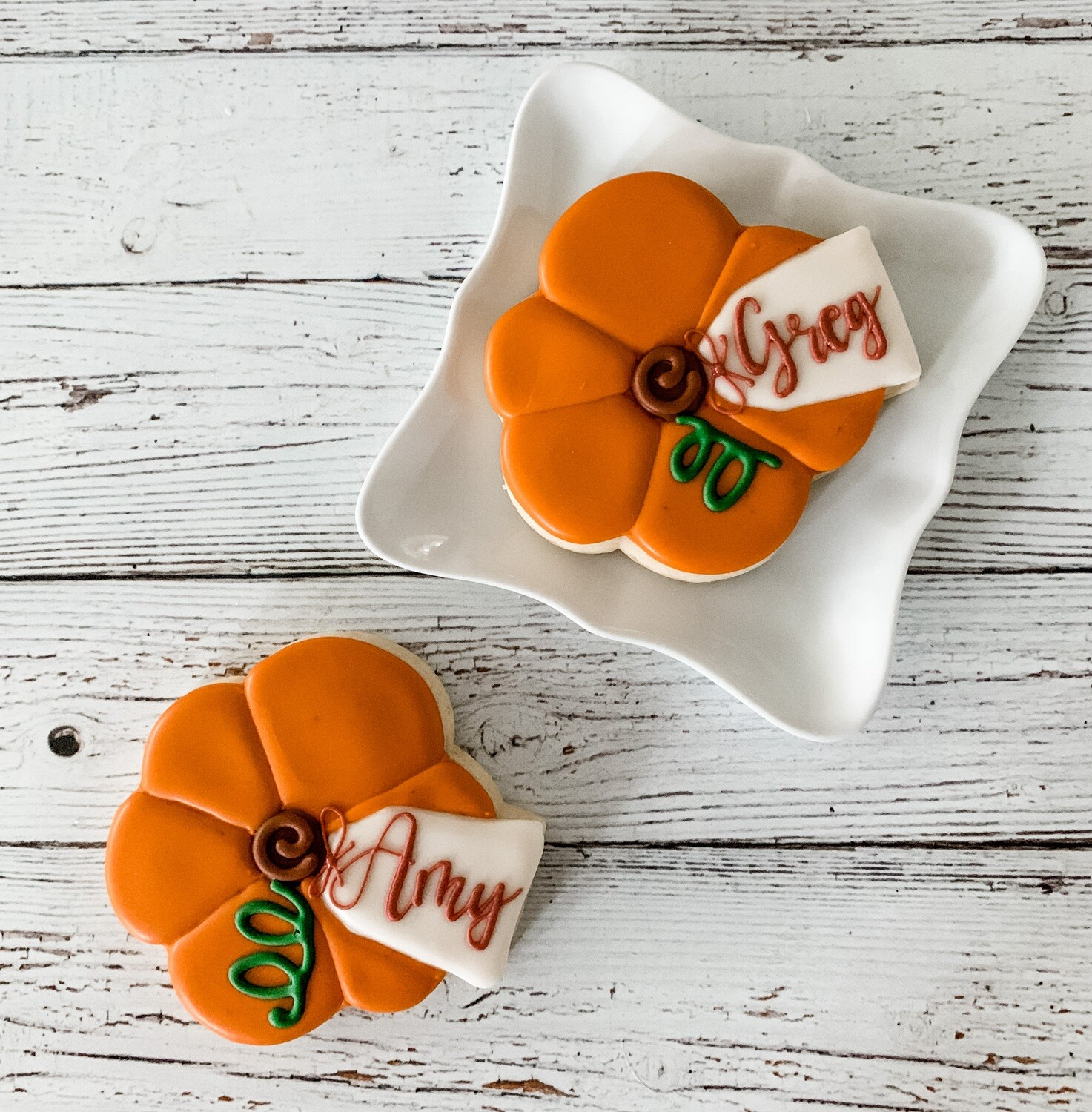 Pumpkin Personalized Place Card Cookie