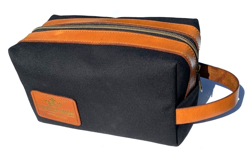 Lined 15 oz. Waxed Canvas and Leather Dopp Kit (Black and Tan)