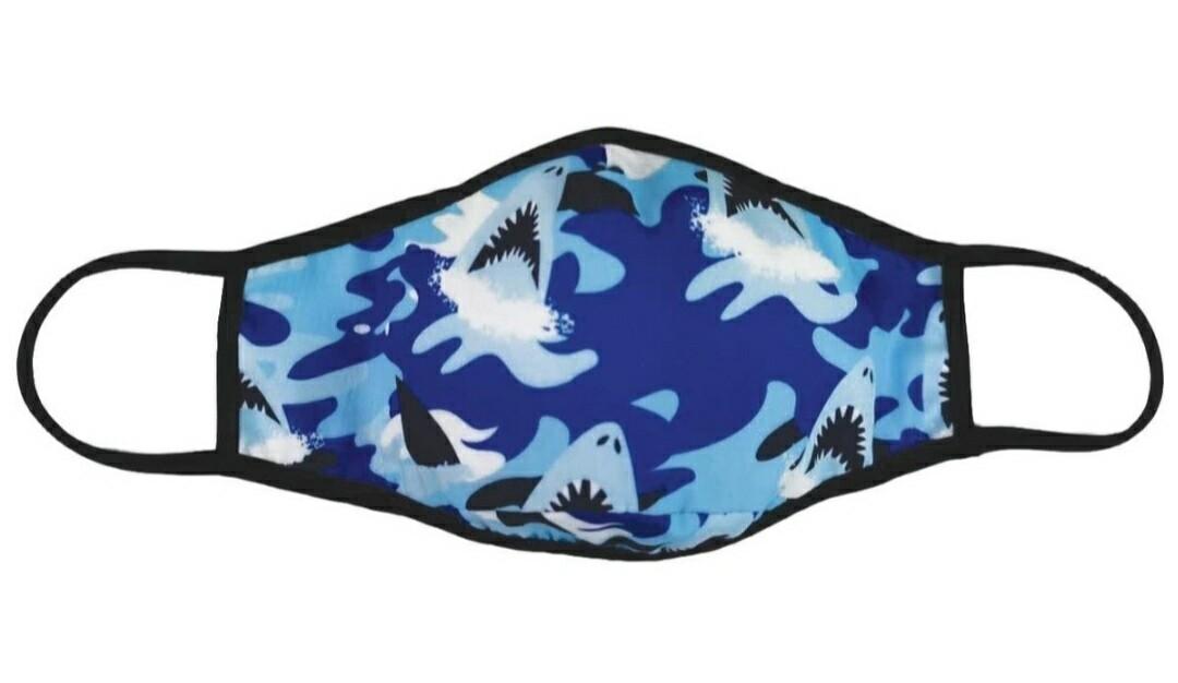 Boys Blue Shark Camo Mask