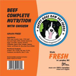 BEEF with Chicken COMPLETE - Meat, Organ, Bone, Veggies, Supplements