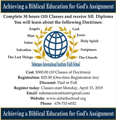 SII - Faith School - Diploma consist of The 10 Doctrine of the Bible