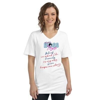 Belief, Family, Love-Unisex Short Sleeve V-Neck T-Shirt