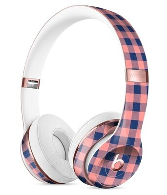 Coral and Navy Plaid Pattern 2 Full-Body Skin Kit for the Beats by Dre