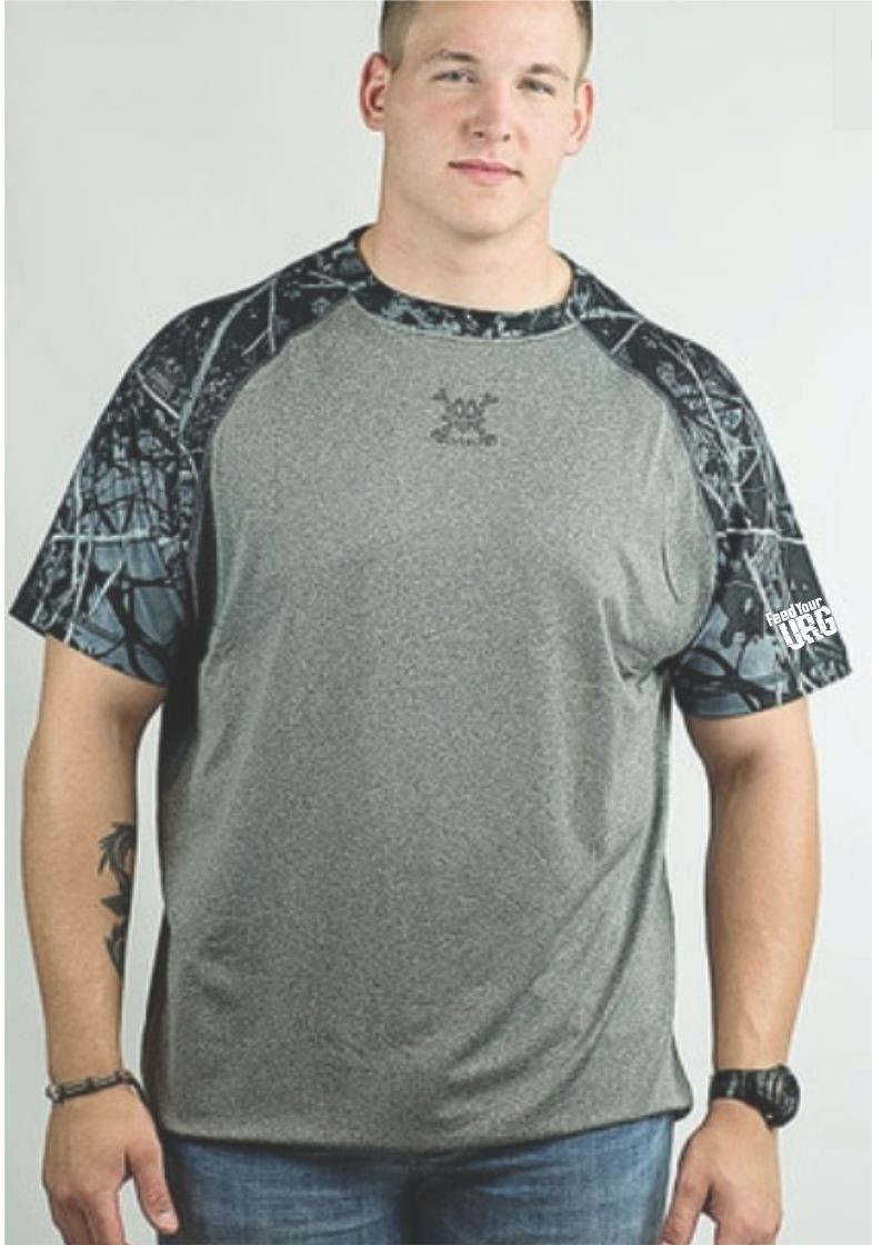 CAMO SHORT SLEEVE RAGLAN SHIRT - FEED YOUR URGE