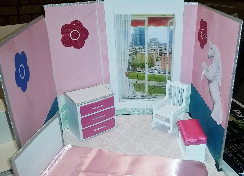 Pink Galaxy Unicorn Doll House 001