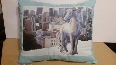 Blue unicorn pillow 1