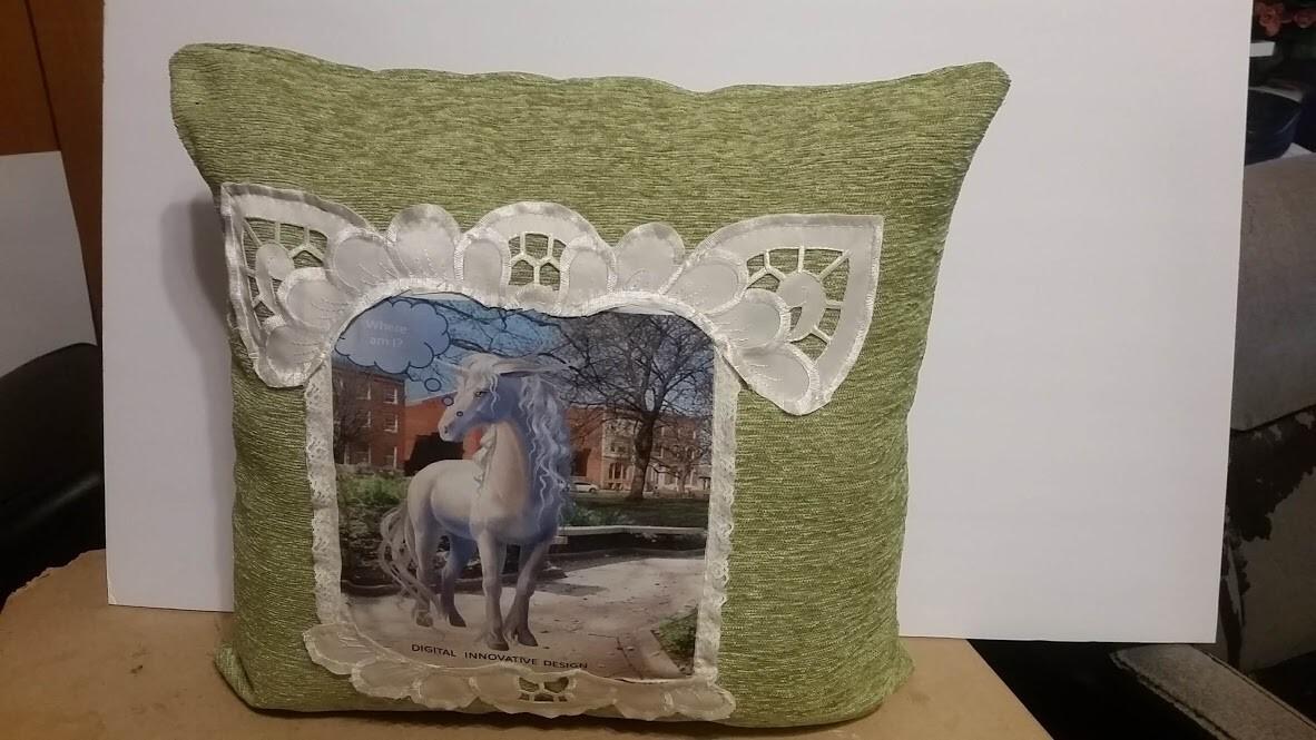 Green unicorn pillow 1