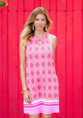 Cabana Life Coral Geo Sleveless Shift Dress