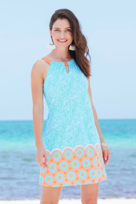 Cabana Life Aqua Citrus Sleeveless Shift Dress
