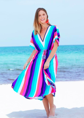Cabana Life Striped Tie Waist Midi Dress