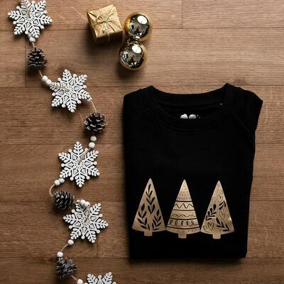Organic Black& Gold 'Christmas Trees' Jumper