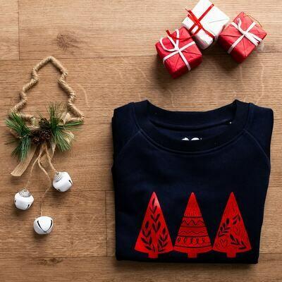 Organic Navy & Red 'Christmas Trees' Jumper