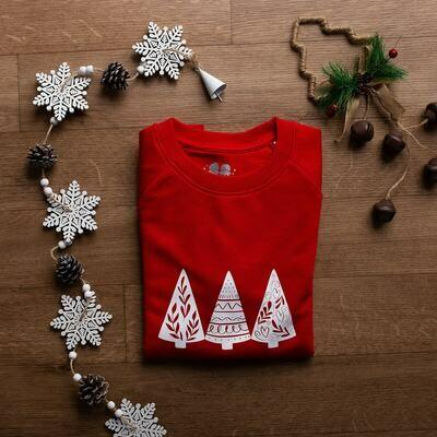 Organic Red & White 'Christmas Trees' Jumper