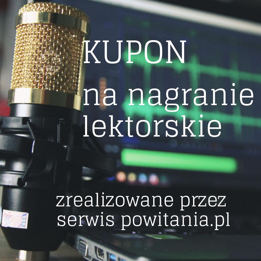 Nagranie audiobooka w wykonaniu lektora Adrian - Kupon