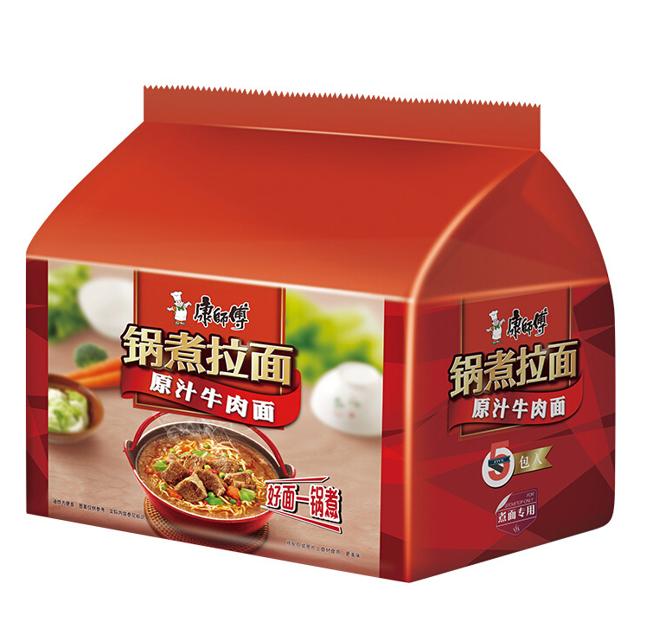 康师傅锅煮拉面-原汁牛肉(五连包) MK Instant Noodles - Artificial Beef (120gx5)