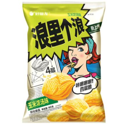 好丽友浪里个浪-玉米浓汤味 HLY Crisps - Corn Soup 65g