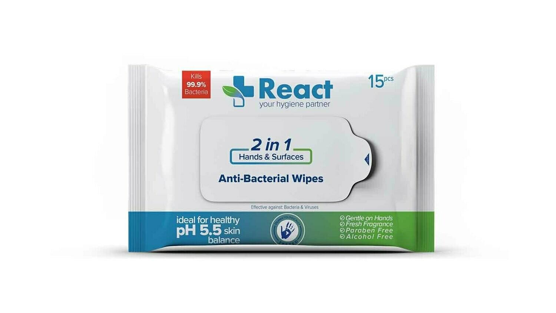React Anti-Bacterial Wipes 15pcs