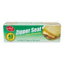 """E-lite Style 7"""" x 8"""" Zipper Seal Bags 40pcs"""