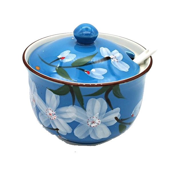 Japanese Style Seasoning Pot c/w Spoon  - Blue