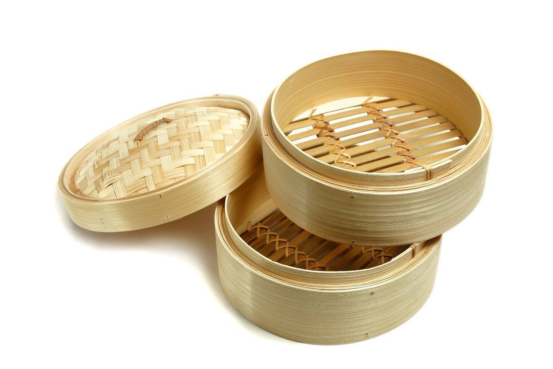 "6"" 竹蒸笼(约15cm)-2蒸笼1蒸盖 6"" Bamboo Steamer"