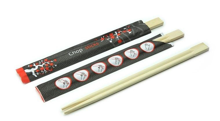 Bamboe eetstokjes in sachet 210mm, verpakt per 100 stuks