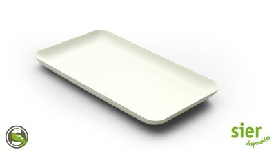 Bagastro bord rechthoekig 20x12cm, 40 stuks