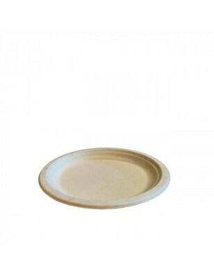 Bagasse bord 18cm Ø bruin Verpakt per 500 stuks