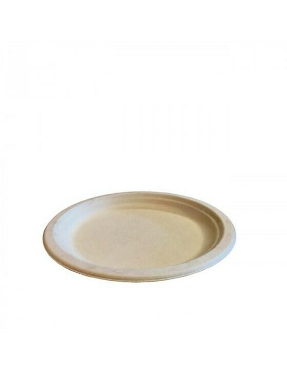 Bagasse bord 23cm Ø bruin Verpakt per 50 stuks