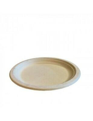 Bagasse bord 26cm Ø bruin Verpakt per 500 stuks