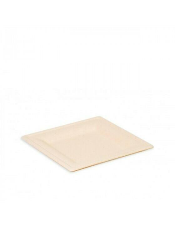 """Bagasse  bord """"Karo"""" 160x160x15mm bruin Verpakt per 500 stuks"""