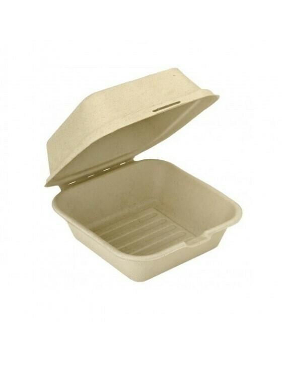 Bagasse hamburgerbox bruin 450ml/150x150x84mm  Verpakt per 500 stuks
