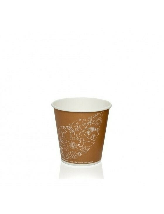 Karton/PLA koffiebeker 4oz/120ml/62mm Ø Leaf Verpakt per 50 stuks